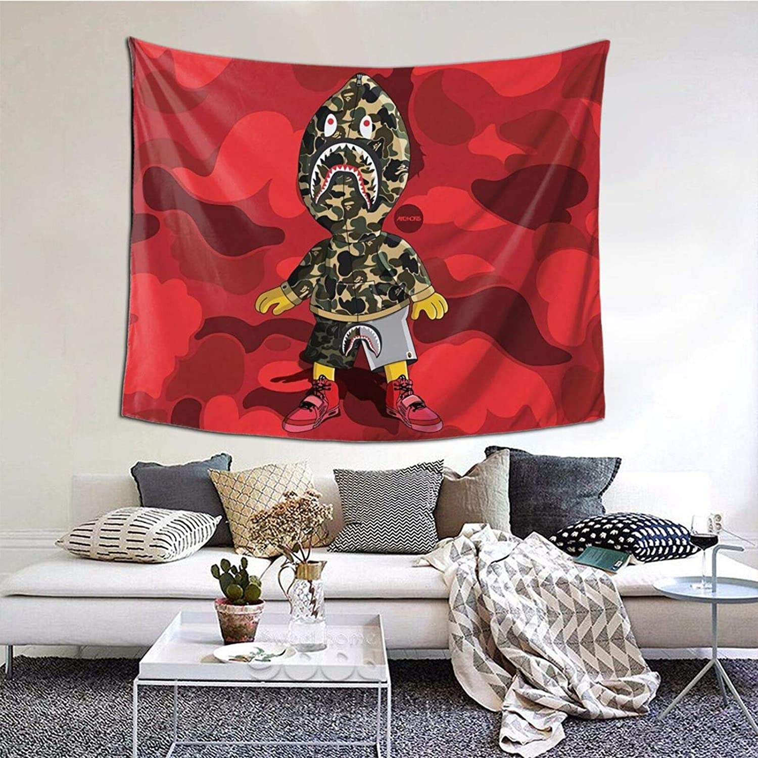 Tapestry Bape Shark Mouth Tapestries Hippie Art Wall Hanging Throw Tablecloth 50X60 Inches for Bedroom Living Room Dorm Room