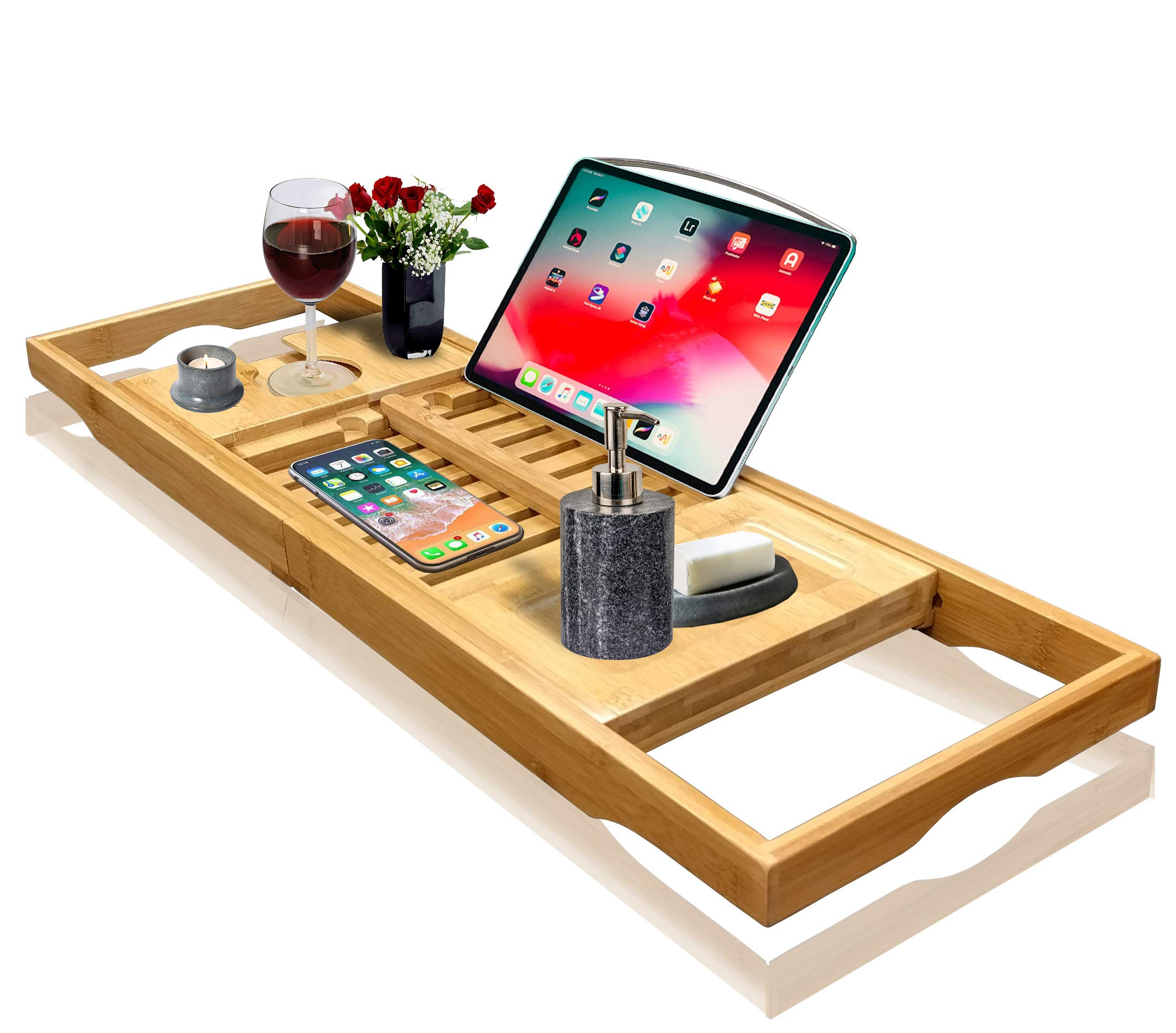 Nature Gear Wood Bamboo Luxury Bath Caddy for Your Book, Tablet or Smartphone – Bathtub Tray with Extending Arms
