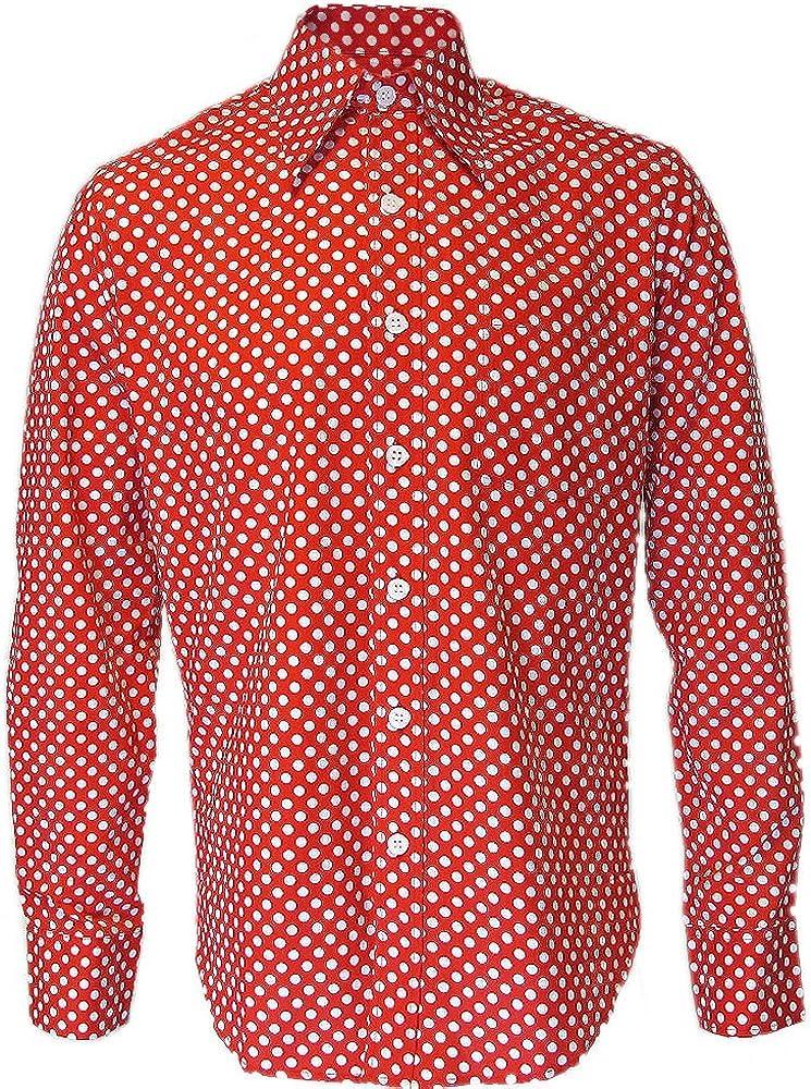 Chenaski - Camisa Casual - Lunares - para Hombre Rojo Rosso Large: Amazon.es: Ropa y accesorios