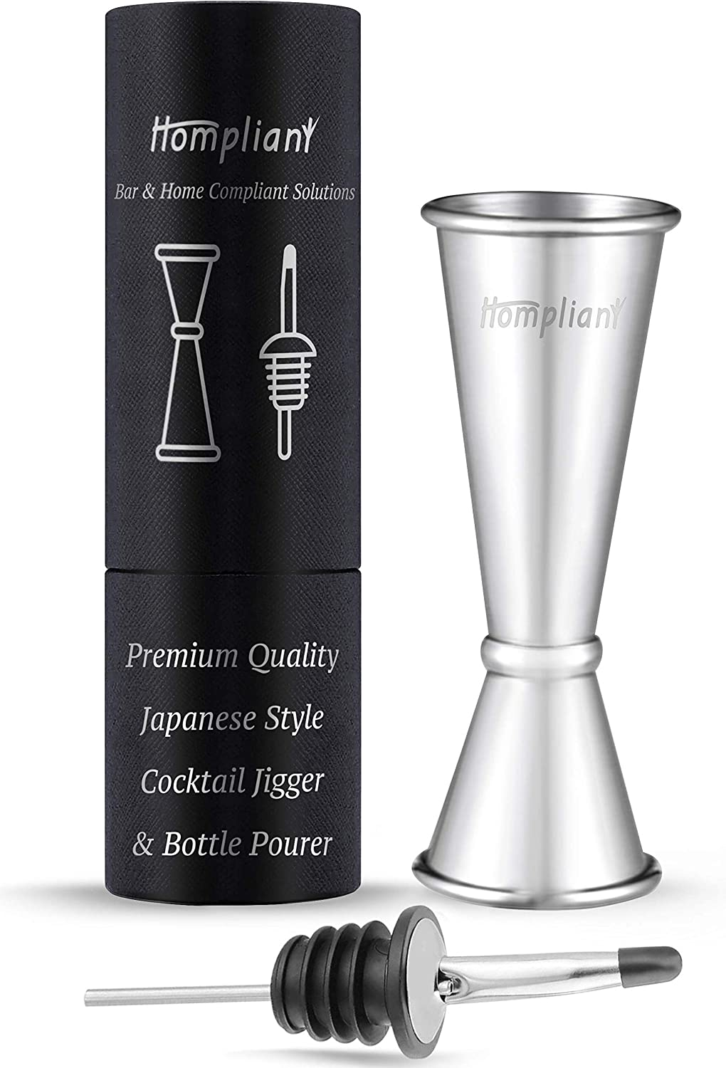 // 1oz Premium Japanese Stainless Steel Slim Double Cocktail Bar Jigger by VinoBravo with measurements inside 2oz Barware Tool for Home Bars and Professional Bartending Kits Black