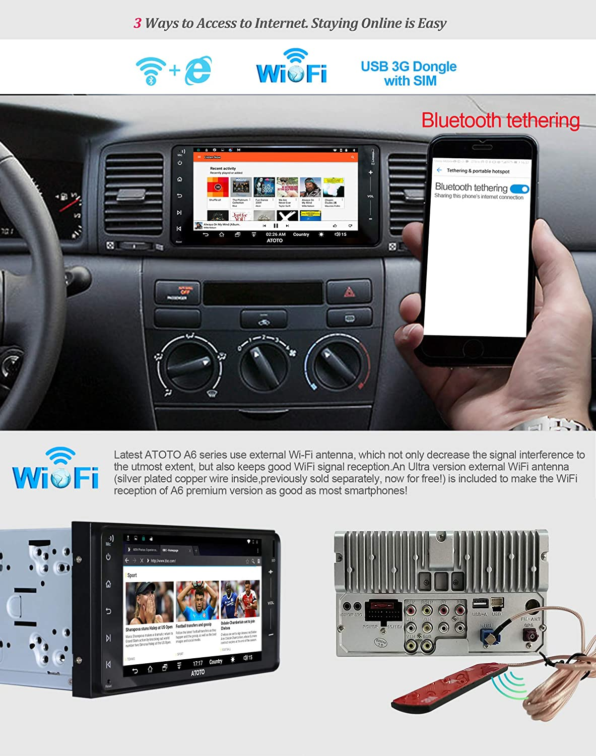 Atoto A6 Android Car Navigation Stereo W 2xbluetooth Subaru Wiring Diagram For Select Toyota 205mm X 104mm Standard A6yty710s 1g 16g Auto Radiowifi Bt