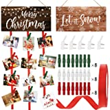2 Pieces Christmas Wooden Card Holder Let It Snow Hanging Picture Holder Merry Christmas Wooden Photo Display Hanger…
