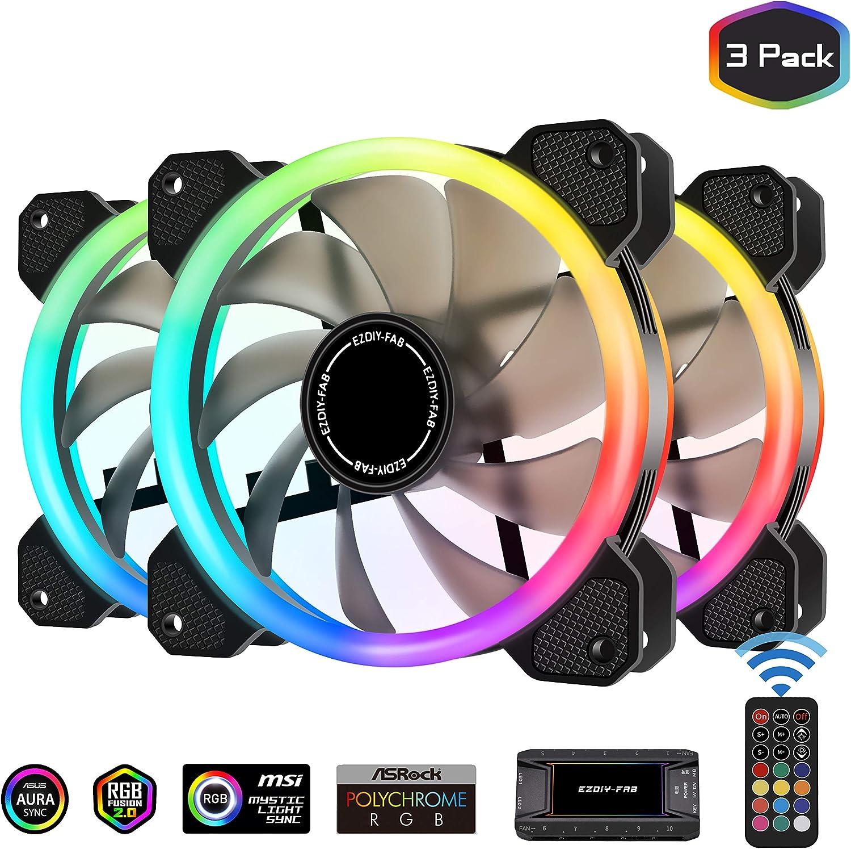 EZDIY-FAB Ventiladores RGB de Doble Anillo de 120mm,5V Motherboard Sync,La Velocidad es Ajustable,RGB Sync Fan con 10-Port Fan Hub X y Remote-3 Pack
