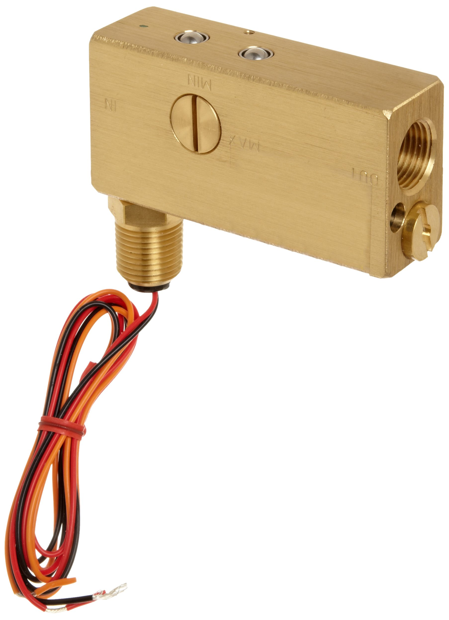 Gems Sensors FS-10798 Series Brass Flow Switch for Use with Gases, Inline, Piston Type, with 1/2'' Conduit Connector, 0.50-20 gpm Flow Setting Adjustment Range, 1/2'' NPT Female