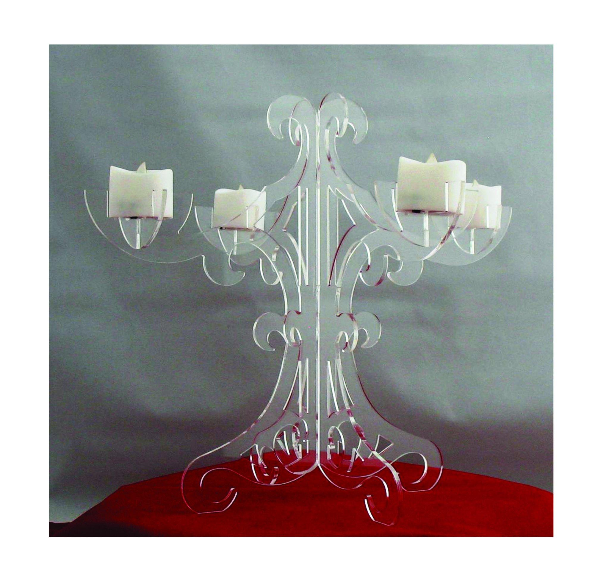Candelabra Clear Acrylic X16 1915 4 Standard LED Candle Holder