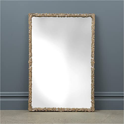 Best Home Fashion Whitewashed Scroll Frame Mirror – White – Wood Frame -Wall Hanging – Rectangle Shape – 37 L x 25 W