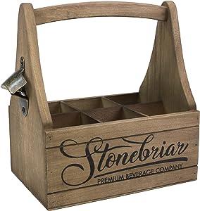 Stonebriar Premium Beverage Wooden Beer Caddy with Handle and Metal Bottle Opener, Large, Brown
