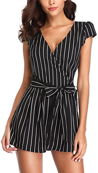 3642a256a49 MISS MOLY Summer Romper for Women Vertical Striped Sleeveless Cute Summer  Playsuits with Belt Black-