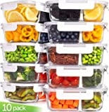 Prep Naturals Glass Meal Prep Containers Glass Food Storage Containers with Lids - 2 Compartment Glass Lunch Containers (20 Pcs.) Glass Storage Containers with Lids Glass Containers for Food Storage