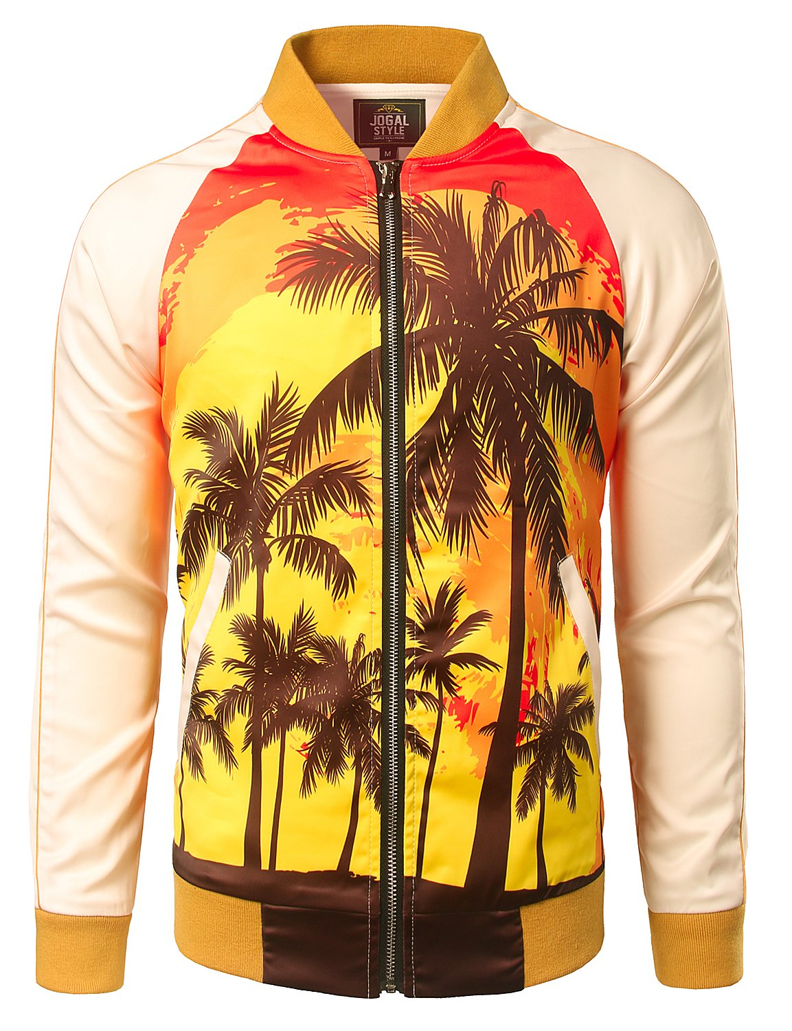 JOGAL Mens Zipper Bomber Jacket Lettermen Style Sunset Coconut Tree Couples Top Medium