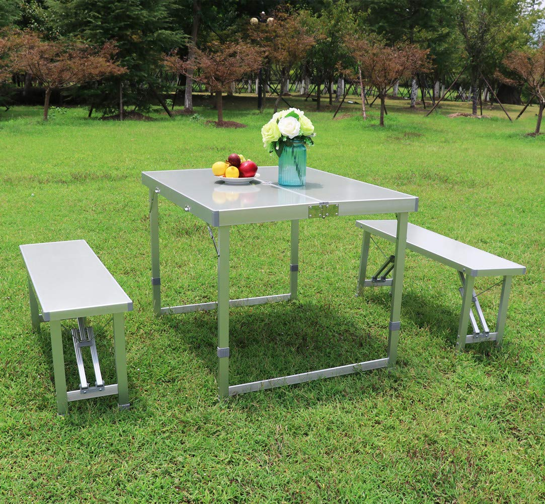 AceLife Folding Table Portable Aluminum Indoor Outdoor Camping Picnic Suitcase Table Set with 2 Benches