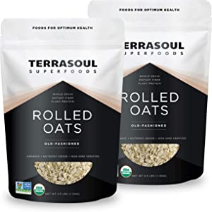 Terrasoul Superfoods Organic Rolled Oats, 5 lbs - Gluten-Free   Old-Fashioned   Whole Grain