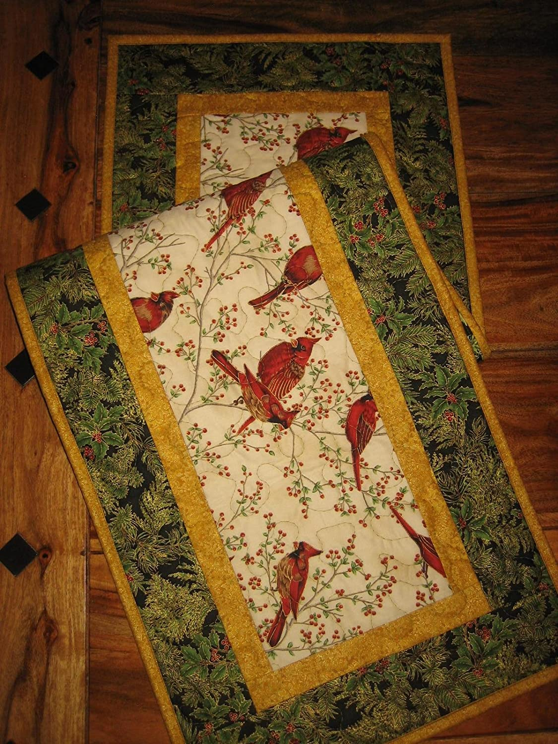 Handmade Reversible Quilted Red Cardinals Table Runner