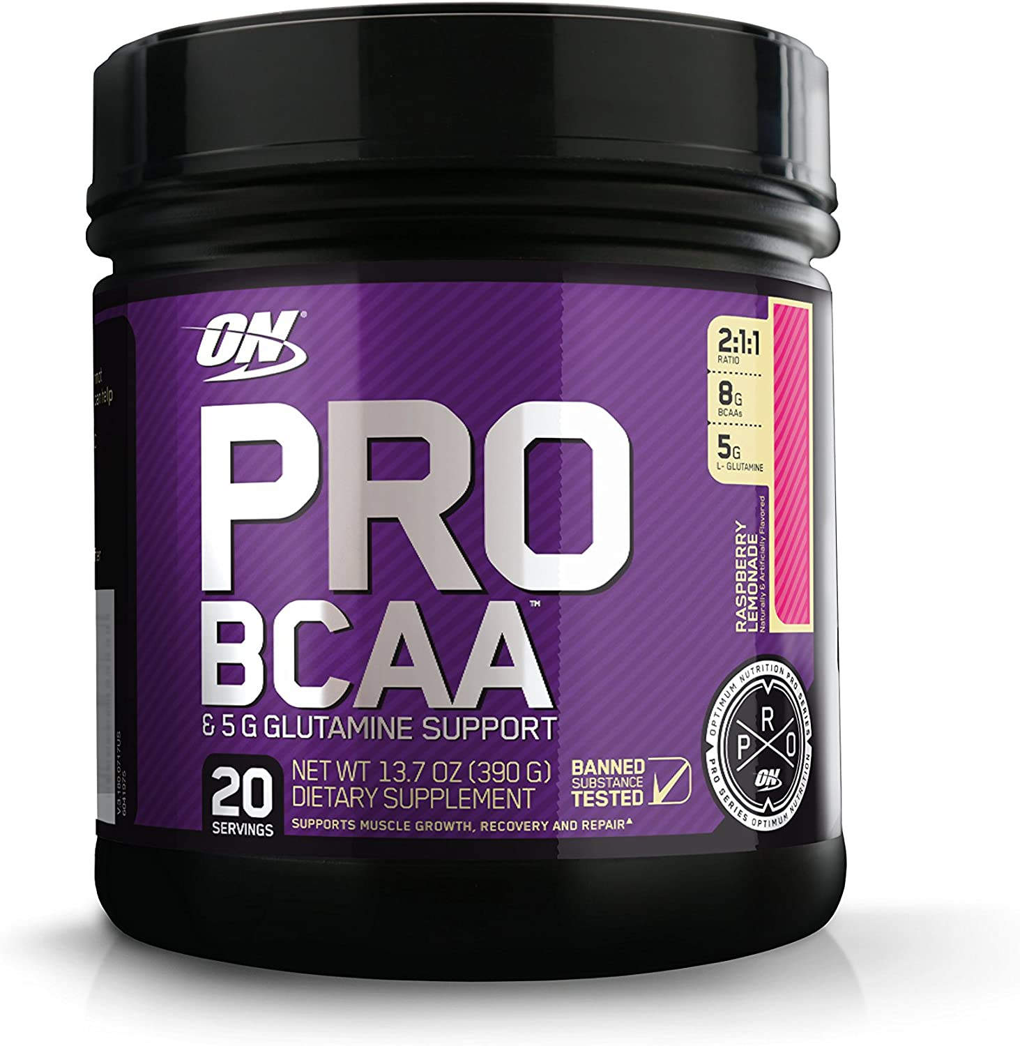 OPTIMUM NUTRITION Pro BCAA Powder with Glutamine, Raspberry Lemonade, Keto Friendly Branched Chain Amino Acids, 20 Servings Packaging May Vary