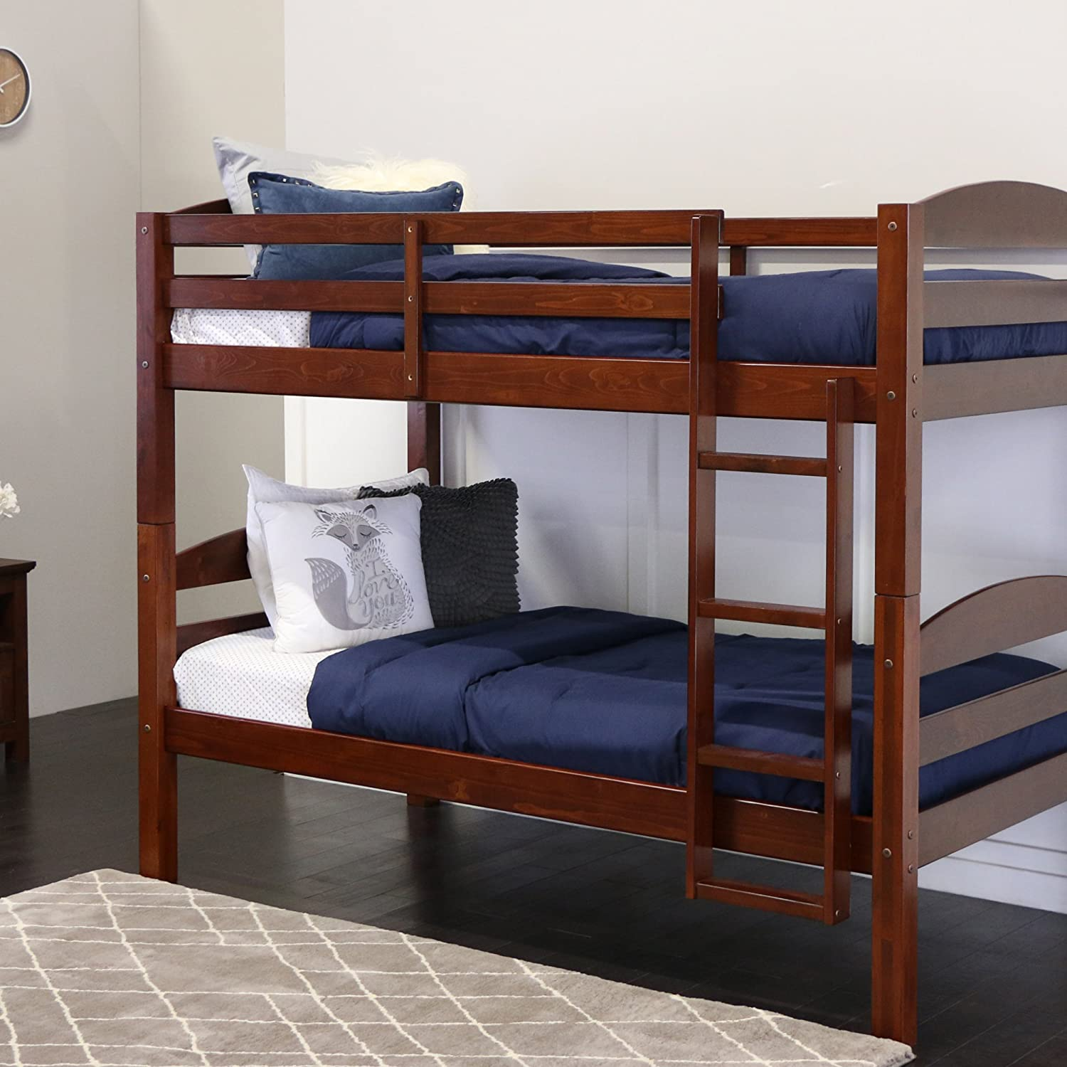 Amazon.com: Walker Edison Solid Wood Twin Bunk Bed, Espresso: Kitchen &  Dining