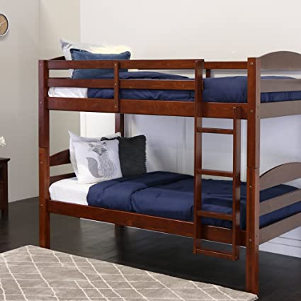 Amazon.com: Walker Edison Solid Wood Twin Bunk Bed, Espresso ...