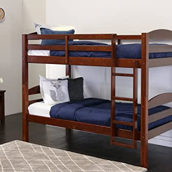 Amazon Com Walker Edison Solid Wood Twin Bunk Bed Espresso