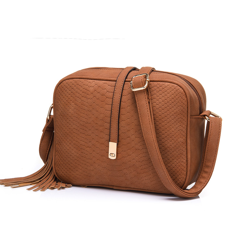 eae26fb0a5e0 Small Crossbody Bags for Women Ladies Faux Leather Mini Shoulder Bag with  Tassel Purse Brown  Handbags  Amazon.com