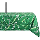 DII 100% Polyester, Spill Proof and Waterproof, Machine Washable, Outdoor Tablecloth with Zipper and Umbrella Hole, 60x84, Banana Leaf, Seats 6 to 8 People