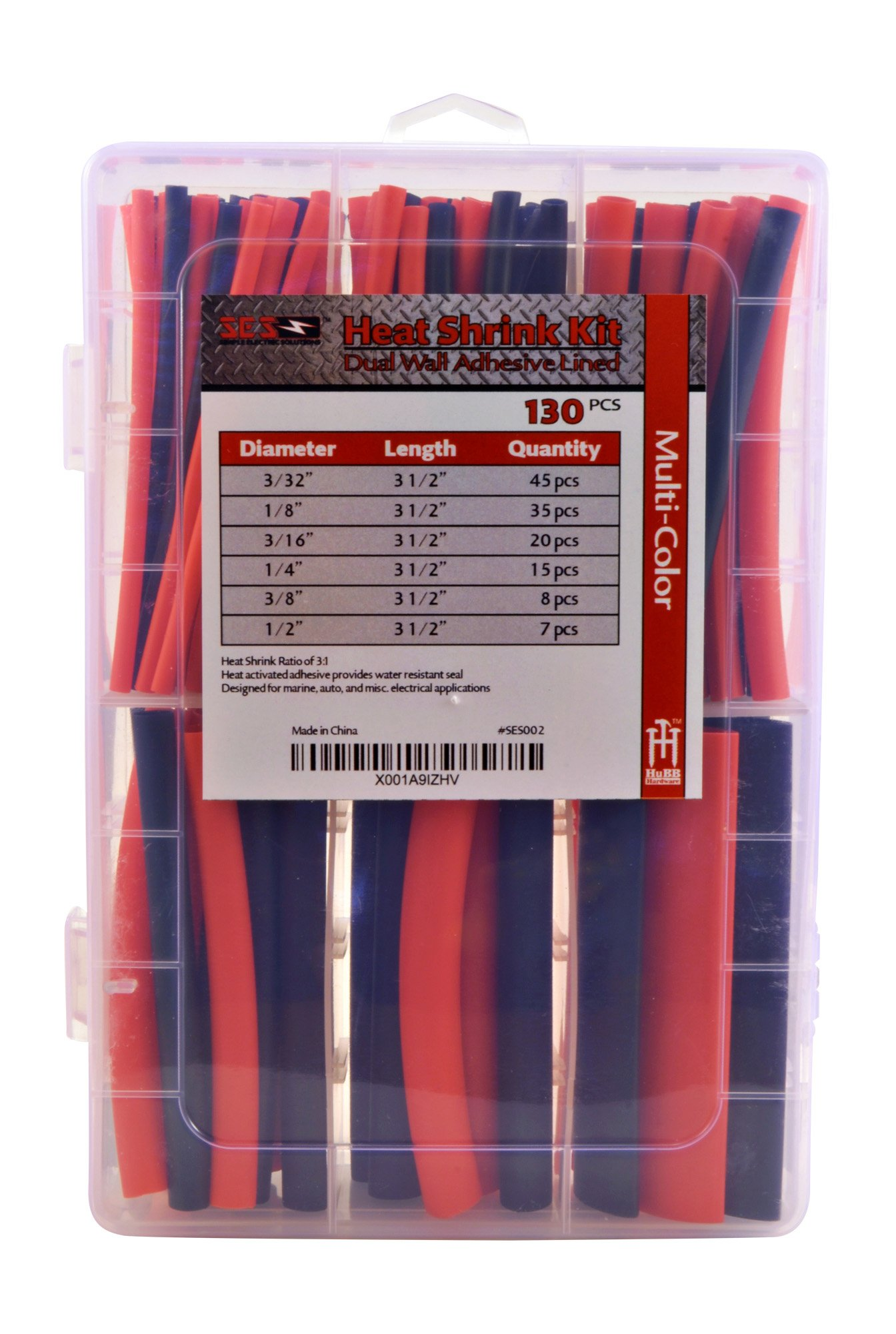 130 PC. Dual Wall Adhesive Marine Heat Shrink Kit - 3:1 Shrink Ratio - Black and Red by Simple Electric Solutions (Image #3)