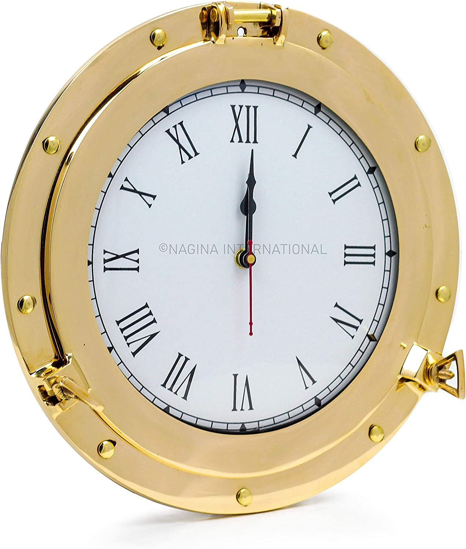 Nagina Raleigh Mall International Premium Nautical Pir Porthole Clock Brass Columbus Mall