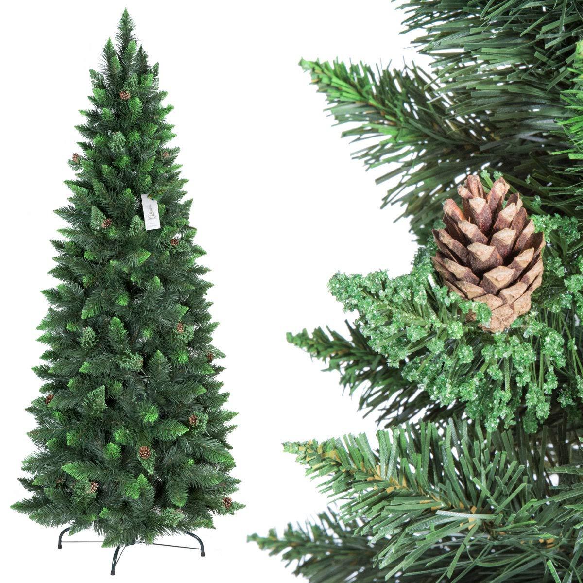 FairyTrees Artificiale Albero di Natale Slim, Pino Verde Naturale, Materiale PVC, Vere pigne, incl. Supporto in Metallo, 150cm, FT08-150