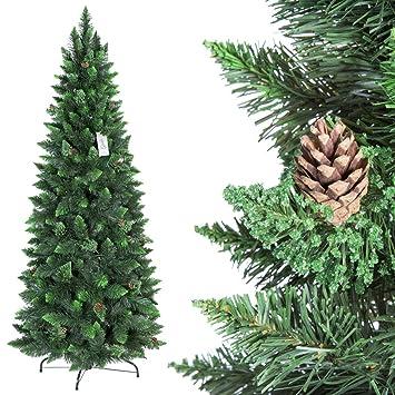 FairyTrees Árbol de Navidad Artificial Slim, Pino Natural Verde, Material PVC, Las piñas verdaderas, el Soporte en Metal, 180cm, FT08-180: Amazon.es: Hogar