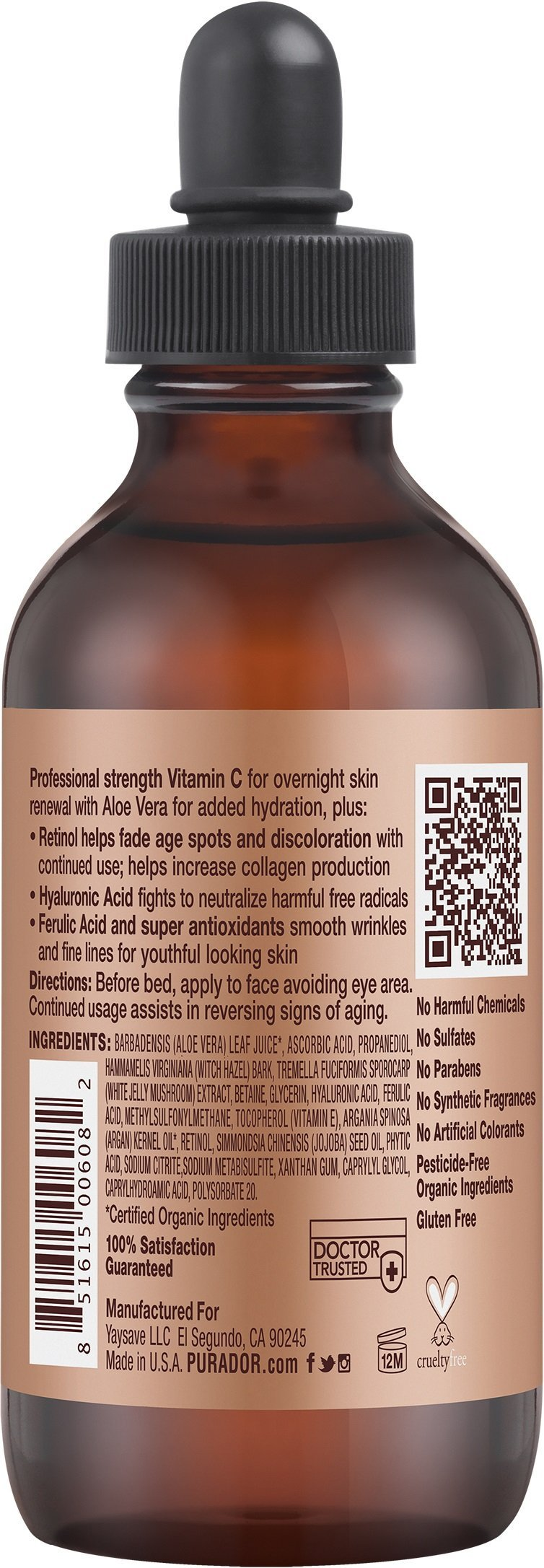 PURA D'OR 20% Vitamin C Serum Professional Strength Anti-Aging Skin Therapy Organic Argan Oil, Hyaluronic Acid & Vitamin E, 4 Fluid Ounce by PURA D'OR (Image #2)