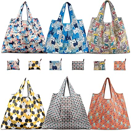 1eb35b44623d Amazon.com: Reusable Grocery Bags, TEOYALL 6 Pack Eco Friendly Large  Foldable Grocery Tote Bag Heavy Duty Washable Shopping Bags (6 Pack):  Kitchen & Dining