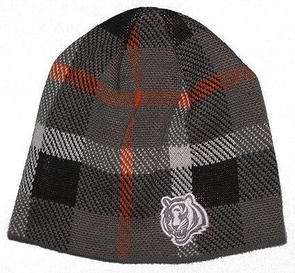 9965a20b148 Image Unavailable. Image not available for. Color  Reebok Cincinnati  Bengals NFL Team Apparel Plaid Design Knit Beanie Hat