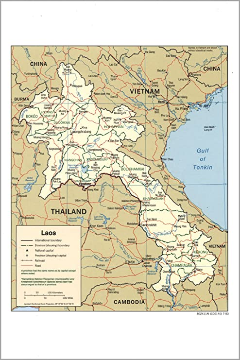Amazon.com : 20x30 Poster; Cia Map Of Laos 2003 : Everything Else