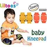 Liltoes Soft Baby Safety Knee and Elbow Pads, 2 Pairs, Yellow and Orange