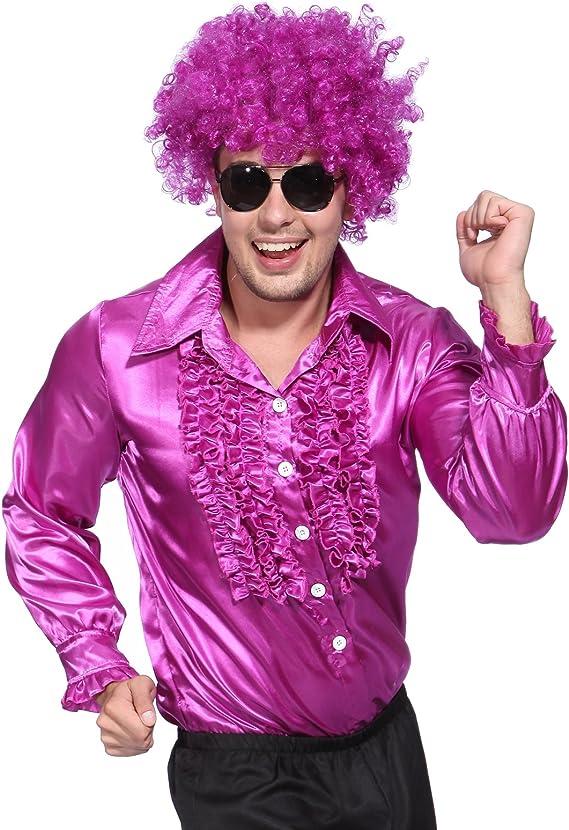 Mens 1970s 70S Suit Disco Costume Metallic Ruffle Shirt Dance Night Fancy Dress