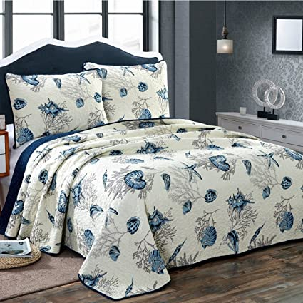 Amazon Alicemall Ocean Theme Bed In A Bag Blue Shell And