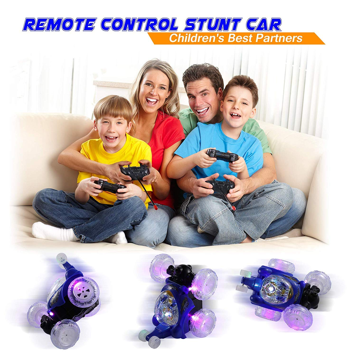 UTTORA Remote Control Car, Invincible Tornado Twister Remote Control Truck,360 Degree Spinning and Flips with Color Flash & Music for Kids (Camouflage Color)