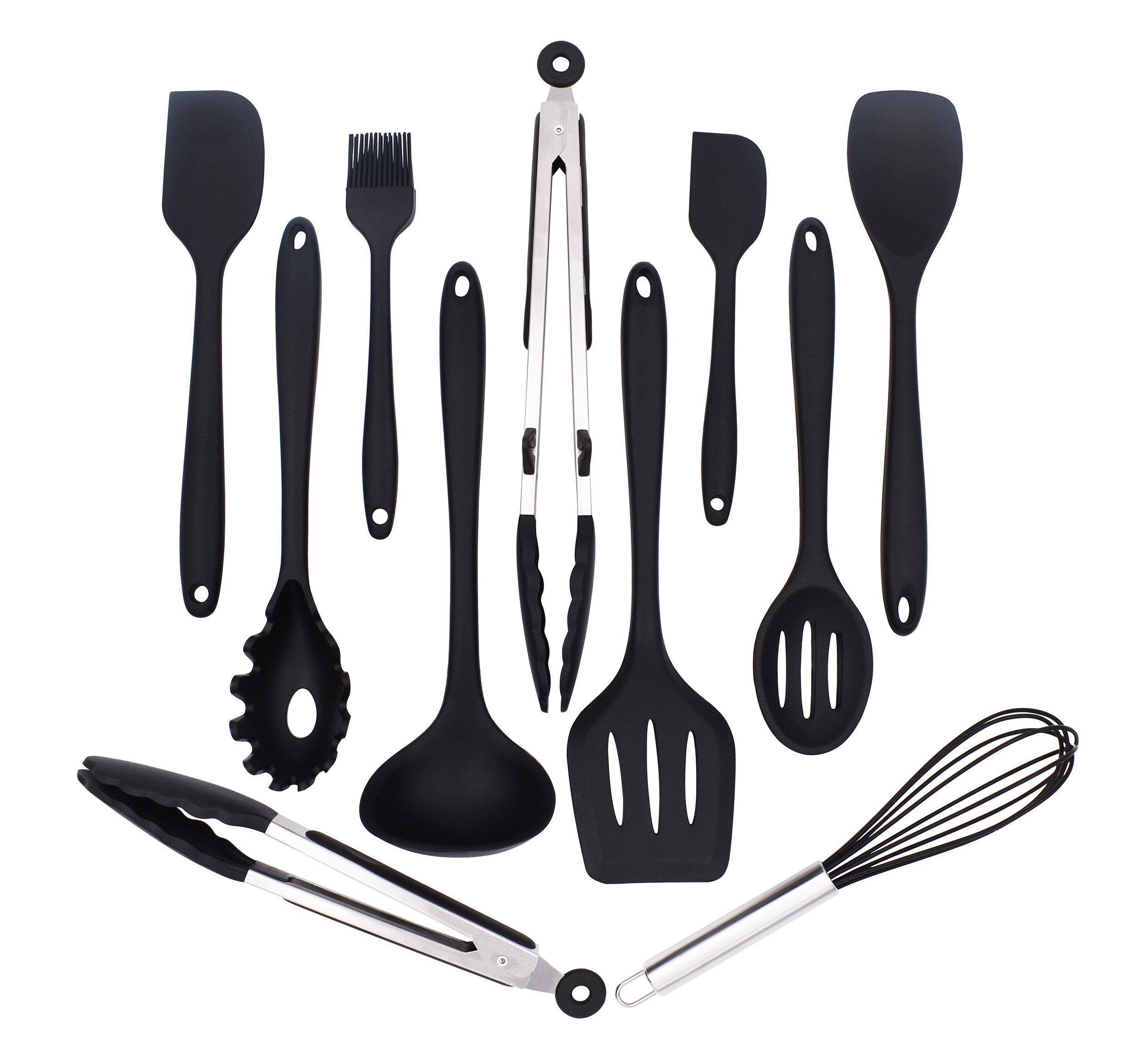 Silicone Kitchen Utensils Set 11 Piece Cooking Tool And Gadget Set Baking  Whisk Brush Spatulas (Black)