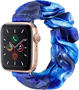 Cute Scrunchie Elastic Watch Band Compatible for Apple Watch,38mm 40mm, 42mm 44mm,Printed Band Replacement Strap for iWatch Series 6,5,4,3,2,1(No.02-Blue Galaxy, 42MM 44MM)