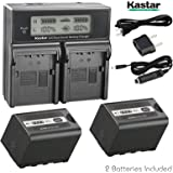 Kastar LCD Fast Charger + Battery 2x for Panasonic AG-VBR59 AG-VBR89G AG-VBR118G AG-BRD50 AG-B23 AG-DVX200 AG-AC8 AG…