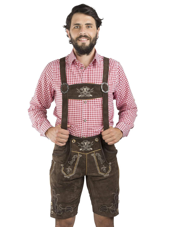 Schöneberger Trachten Couture Men's Dungarees Lederhosen Brown Brown 42 Lederhose Bergfest kurz