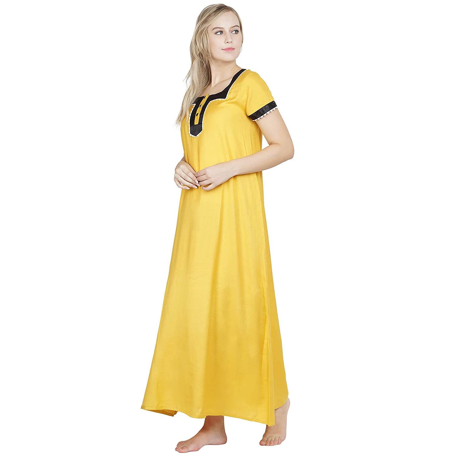 747949a98786 PATRORNA Cotton Silk Blend Women Embellished A-Line Nighty Night Wear Night  Gown in Mustard Yellow (Size S - 10XL)  Amazon.in  Clothing   Accessories