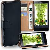 OneFlow Tasche für Sony Xperia Z Hülle Cover mit Kartenfächern | Flip Case Etui Handyhülle zum Aufklappen | Handytasche Schutzhülle Zubehör Handy Schutz Bumper in Schwarz