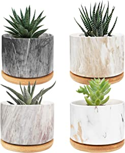 ANOTION Succulent Plant Pots, 3.55 inch Mini Ceramic Planter with Bamboo Tray, 4 Packs, Modern Style Marbling Cactus Plant Pot for Garden, Balcony, Office, Birthday
