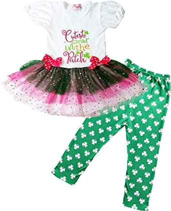 b044f177 Boutique Baby Girls St Patrick's Day Patty Cutest Clover in The Patch  Green/White 3