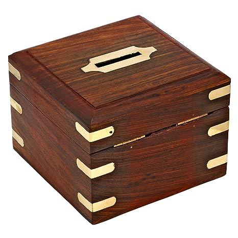 ShalinIndia dinero seguro caja alcancía de madera para niños niñas y adultos: Amazon.es: Hogar