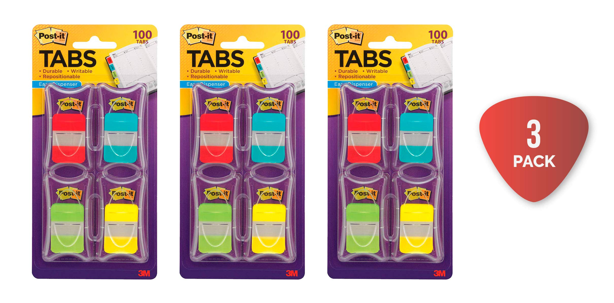 Post-it Tabs, 1 in. Solid, Asst Colors, Durable, Writable, Repositionable, Sticks Securely, Removes Cleanly, 25/Color, 25/Dispenser, 4 Dispenser/Pack (686-RALY) Pack of 3 by Post-it