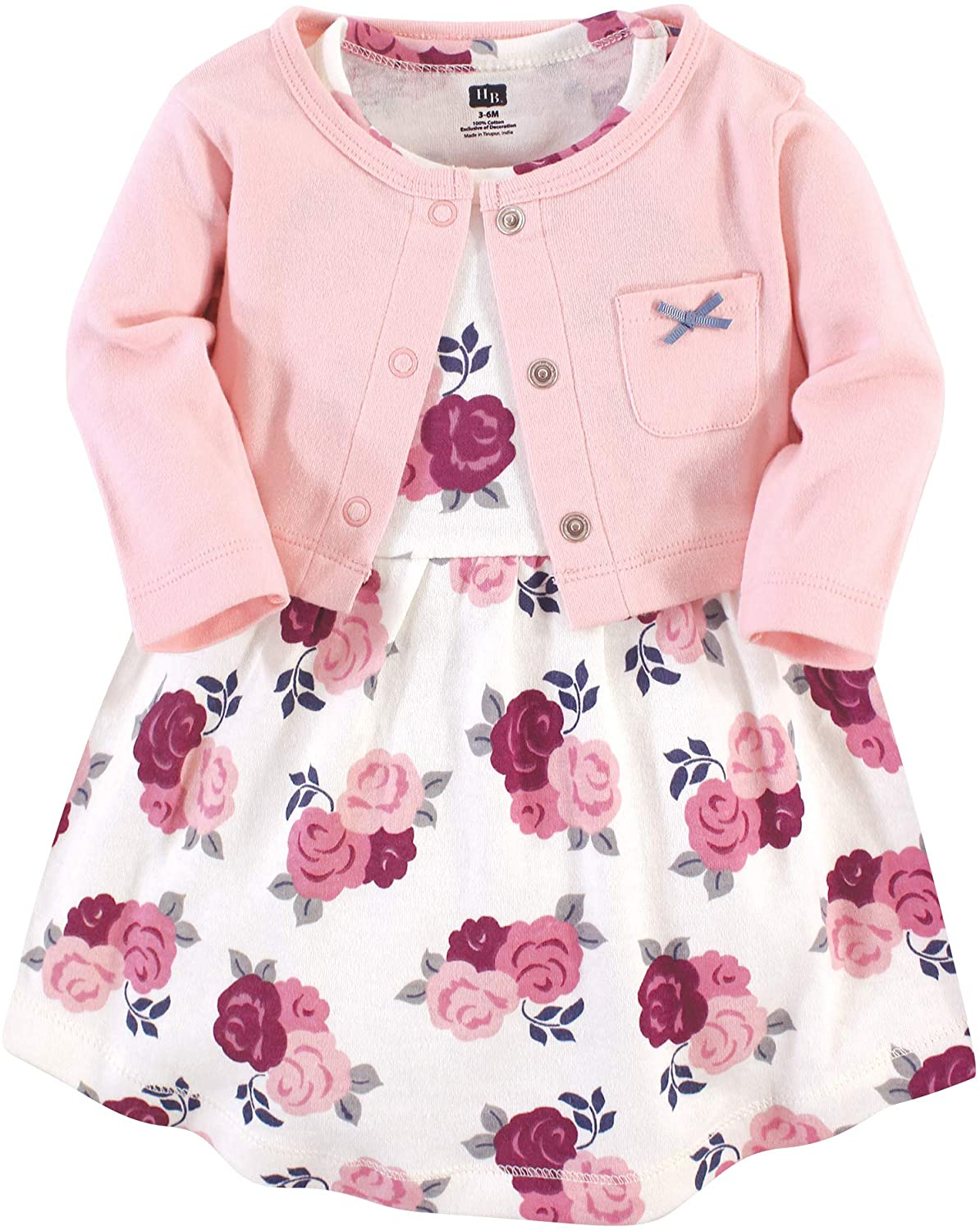 Hudson Baby Baby Girls Cotton Dress and Cardigan Set
