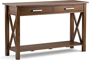 Simpli Home 3AXCRGL003-SB Kitchener Solid Wood 47 inch wide Contemporary Console Sofa Table in Medium Saddle Brown