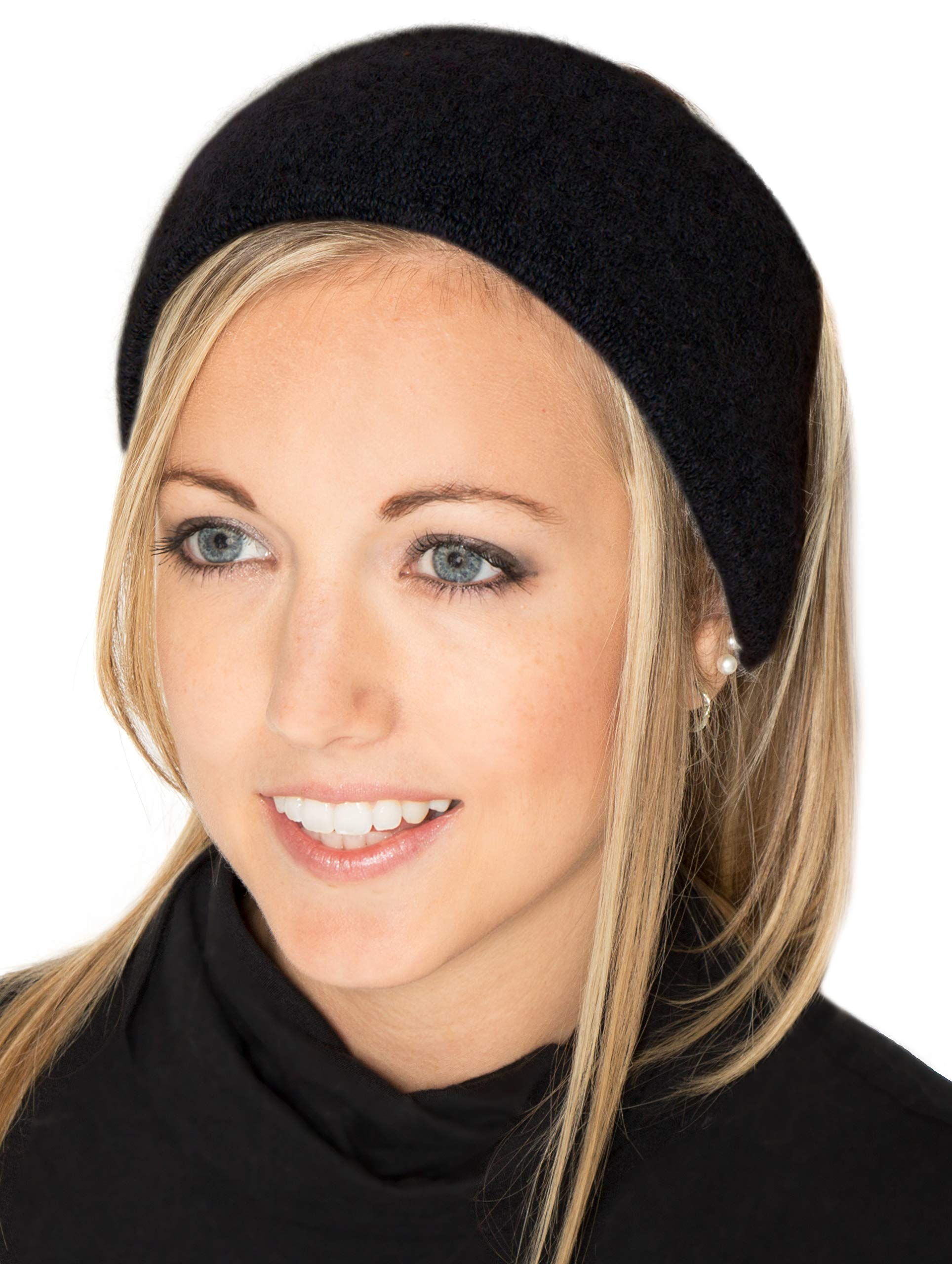 LUXURY ALPACA Ear Warmer Headband Ski/Snowboard/Sport Infused with JOJOBA Oil - BEST NATURAL THERMAL PROTECTION - Black - AndeanSun
