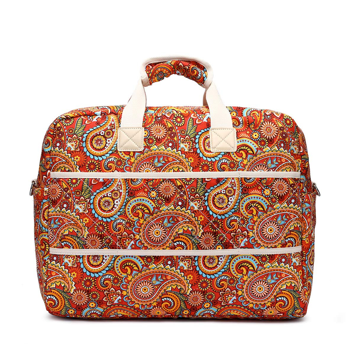 Malirona Women's Canvas Overnight Weekender Bag Carry On Travel Duffel Tote Bag Bohemian Flower (Red Flower) by Malirona (Image #4)