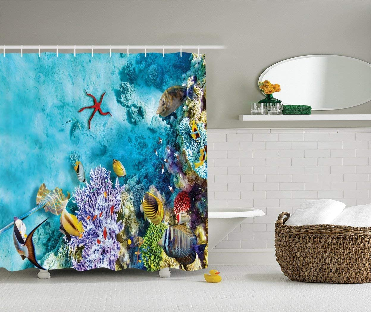 Ambesonne Ocean Shower Curtain, Corals Fishes Jellyfish Scatefish Starfish in Shallow Underwater, Cloth Fabric Bathroom Decor Set with Hooks, 84